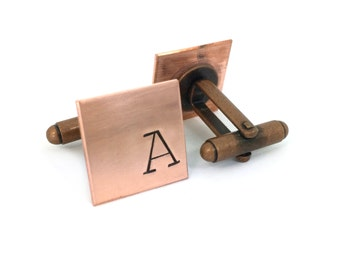 rose gold cufflinks, copper gifts for men, 7 year anniversary for him, custom dad gifts
