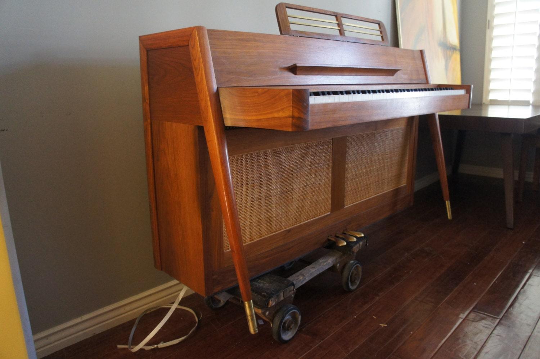 Reserved Mid Century Modern Teak Wood Piano Vintage Baldwin