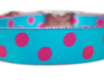 Polka Dot Engraved Metal Buckle Dog Collar 1""