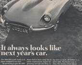 1968 Jaguar XKE Car Ad Vintage Advertisement Classic Sports Car Photo Print, Wall Art Decor