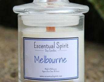 Melbourne Scented Soy Candle. Hand Poured. Wooden Wick. Highly Scented. Destination Fragrance Range.