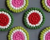 Watermelon Felt Ball Coasters Set of 4 or 6