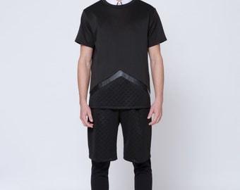 Mens Shirt Mens Black Color Block Shirt Mens Black shirt Mens diamond shirt triangle shirt Minimalist