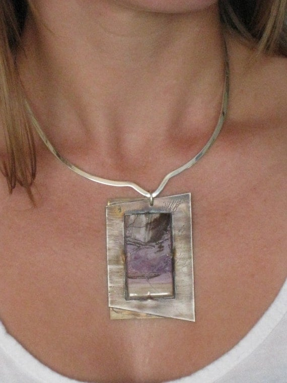 Threatening Sky - Reversible Statement piece - Original composition in Sterling Silver and a unique Purple Mexican Jasper - One of a kind