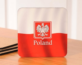 Polish Flag Coasters - set of 4