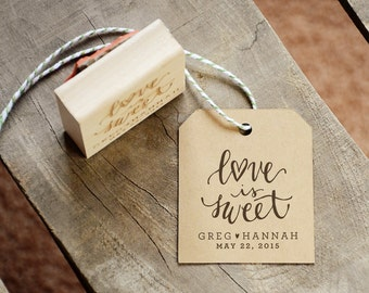 Love is Sweet Rubber Stamp for Wedding Favors, Treat Station, With or WIthout Personalized Name and Date