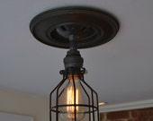Ceiling Fixture - Ceiling Light - Industrial Lighting - industrial light W/Metal cage - Edison Light