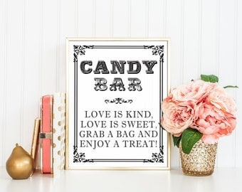 8 x 10 PRINTED Candy Bar - Love is Kind, Love is Sweet, Grab a Bag Enjoy a Treat - Candy Buffet Dessert Table Wedding Bridal Shower Sign