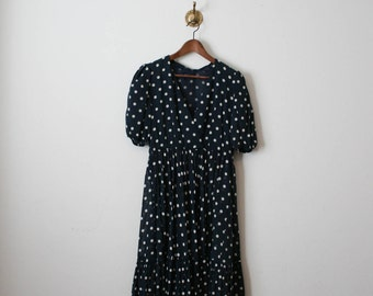 vintage 70s navy polka dot ruffled dress