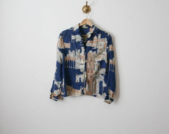 vintage blue stroll around town blouse
