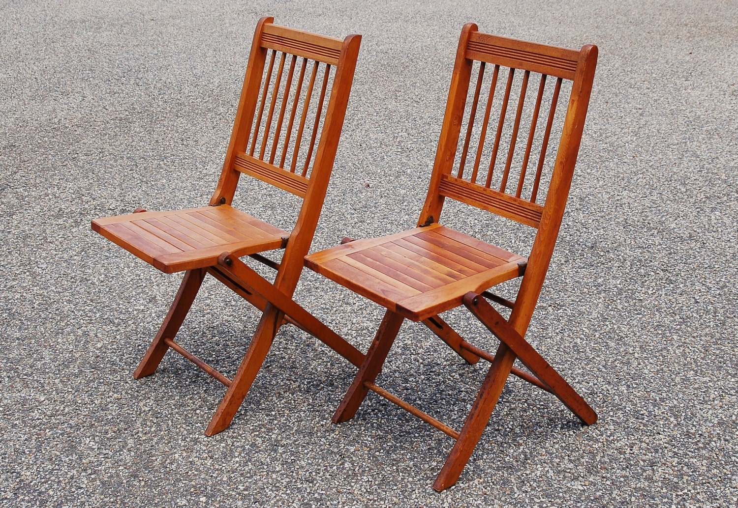 Folding wood chairs pair of slat dowel