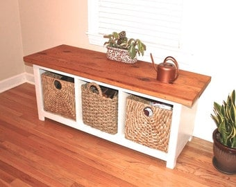 Reclaimed Wood + White  Entryway Storage Bench