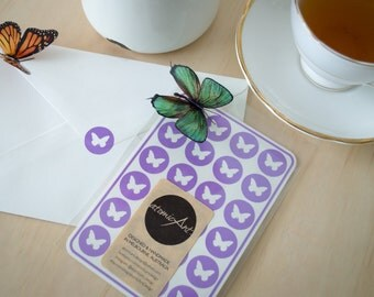 24 Butterfly Stickers in Lilac - Handmade Envelope Seals - Wedding & Birthday invitations - Scrapbooking - Candy Hershey Kiss