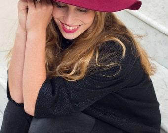 70's Luxe Burgundy floppy hat in 100% wool felt