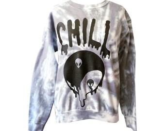 Gray Tie Dye Chill Sweatshirt - Alien Shirt,  Yin Yang Jumper - Drippy Grunge Sweatshirt