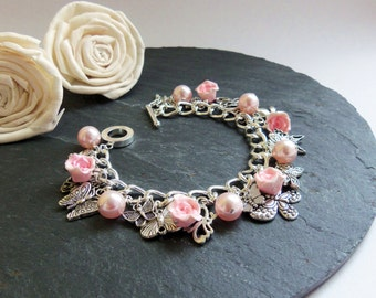 Pink pearl and rose butterfly charm bracelet, pink charm bracelet, butterfly bracelet, Swarovski pearl bracelet, pink clay roses, Sweet 16