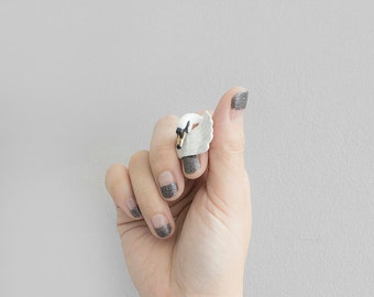 Swan Ring , Handcrafted, Statement ring.