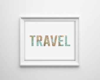 Travel Quote Print, World Map Wall Art, Map Office Print, Map Quote print, Map Typography, Modern Map Art, World Map Poster, Travel Decor