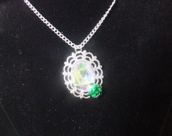 Jeweled Necklace with Green Rose
