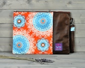 Padded Brown Leather Laptop Sleeve Laptop Case Laptop Bag Skin 11 13 15 inch Macbook Air Pro Retina HP Pavillion Dell Acer Orange Mandala