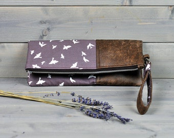 Libertine - Fold Over Clutch Purse Ladies Zipped Pouch Beige Taupe Swallow Bird Brown Leather Cross Body Bag Wedding Clutch Bridesmaid Gift