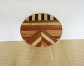 Rustic Side Table Made From Oak, Mahogany & Pine With A Retro Vintage Style Geometric