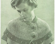 1930s Pattern for Womens Cape - knitting and crochet - Digital PDF