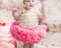 Baby girl's full ruffle PREMIUM peach pink pettiskirt tutu skirt petticoat twins triplets photo prop Newborn 12-18-24 mo 2T baby shower gift