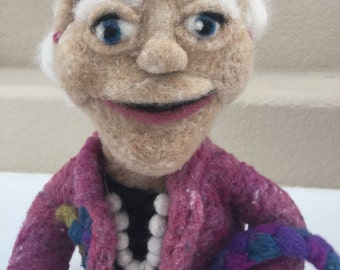 Needle felted art doll, old woman doll, all occasion doll, felted decoration