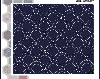 Sashiko Kit, Indigo Quilt Kit, Pillow Kit, Seigaiha Ocean Wave Pattern, Japanese Instructional Kit QFSK-207
