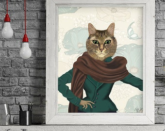 Tabby cat art print Feline Fashionista Hipster Cat poster cat wall art Whimsical cat print tabby cat picture funny cat Home Decor Wall Decor