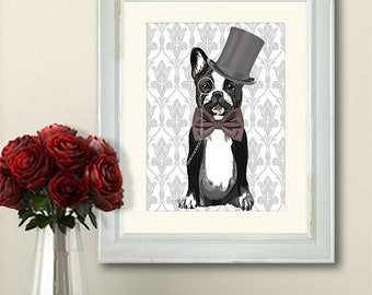 Monsieur Bulldog  French bulldog print, frenchie print, bulldog poster dog print illustration, picture, painting, graphic