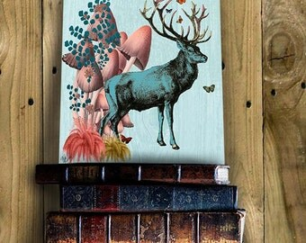 Turquoise Deer in Mushroom Forest  Deer Art Deer Print Digital Stag Illustration Wall Decor Wall hanging Wall Art Stag Picture
