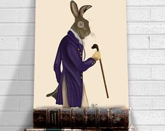 Decorative art - Hare in Purple Coat - Whimsical print Whimsical décor eccentric art unusual art print home decor wall decor man cave décor