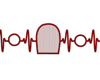 EKG heart beats for classic car embroidery design. Vintage car embroidery design. Heartbeat vintage classic car collector embroidery design.