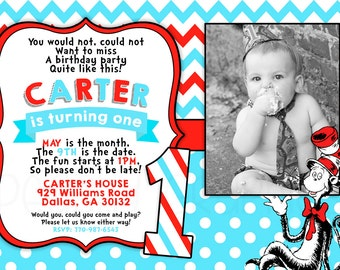 Printable Cat in the Hat Invitation - Dr Seuss Birthday Party - First 1st Birthday Invite - Doctor Suess - Dr Soos - Cat in the Hat