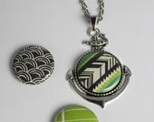Lime and Teal Geo Silver Anchor Necklace Set. Includes 3 Changeable Magnet Buttons!