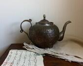 Vintage antique metal teapot bohemian decor photo prop unique Asian style worn patina teapot