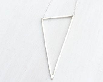 Asymmetrical triangle argentium sterling silver necklace