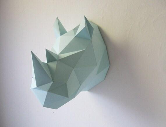 Articles similaires kit de pliage papier rhino sur etsy - Animaux en papier 3d ...