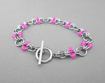 Beaded Chain Bracelet, Neon Pink Bracelet, Pink Beaded Bracelet, Neon Jewelry, Toggle Bracelet, Stainless Steel Jewelry, Hot Pink Bracelet