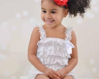 Baby Headband Red Chiffon Pearl Rhinestone  - Gift or Photo Prop - Newborn Infant Toddler Girl Adult Flower Girl Wedding Flowergirl