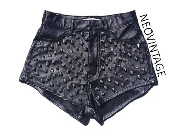 Black High Waisted Silver Spike Studded Pleather Polyester Leather Rihanna Shorts