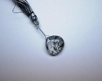 AAA 18mm Focal Heart Natural Black Rutilated Quartz Faceted Heart Briolette