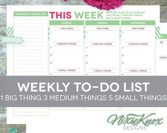 To Do List Printable - Weekly Letter-Size for Planner INSTANT DOWNLOAD, Home Management Binder
