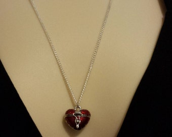 """Red Heart Necklace on 22"""" sterling silver chain"""