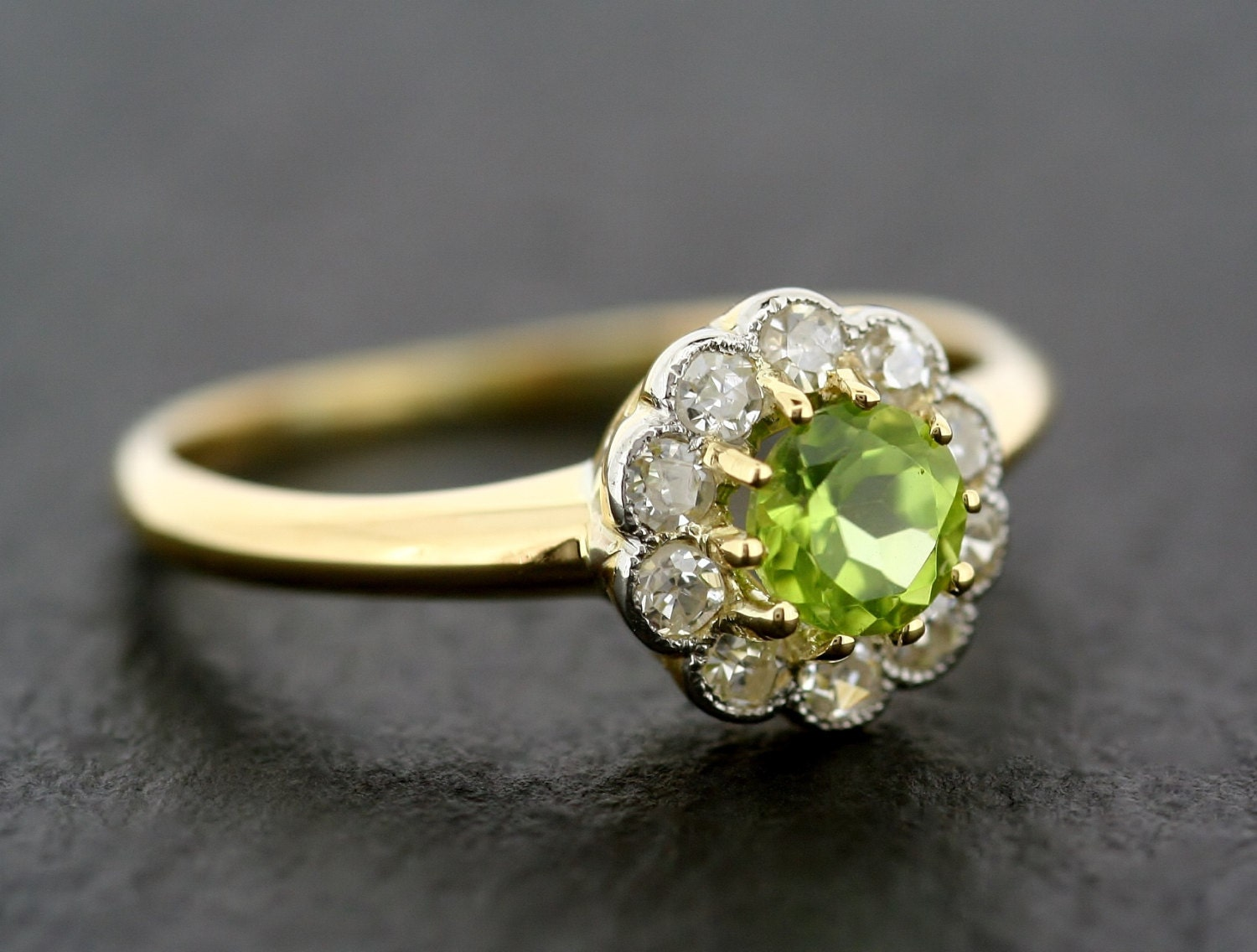 antique engagement ring vintage peridot by alistirwoodtait