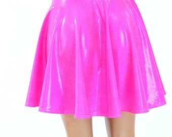 Bubble Gum Pink Holographic Metallic Skater Skirt Full Circle Stretchy Lycra Skirt -150190