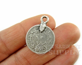 15 pc Rustic Coin Charms, Ottoman Coin Replica Charms, Turkish Coin, Turkish  Matte Antique Silver Plated, Coin Findings, Turkish Jewelry