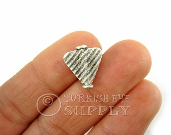 10 pc Silver Plated Flat Triangle Spacer Beads, Etched Flat Bead Spacer, Turkish Jewelry